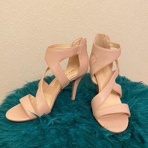 Nine West Blush Pink Zipper Heel Closure Sandal